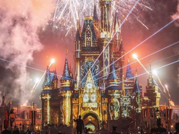 Cinderella Castle during the nighttime fireworks