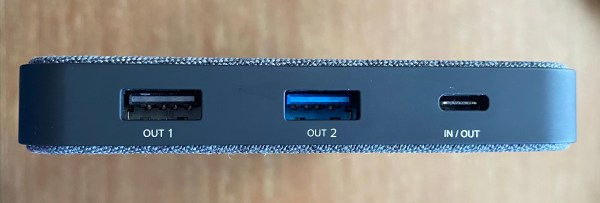 The side of the Eggtronic Laptop Power Bank, showing the 3 charging ports