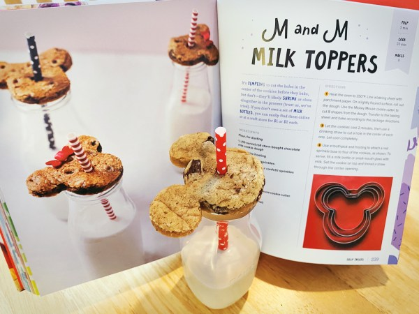 Disney Eats cookbook and the milk and cookies it inspired