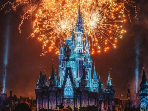 Cinderella Castle colored by projections and fireworks