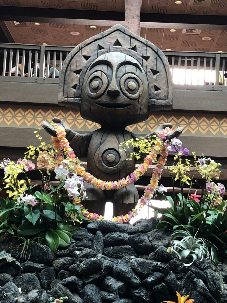 Maui statue in the lobby of the Polynesian Resort