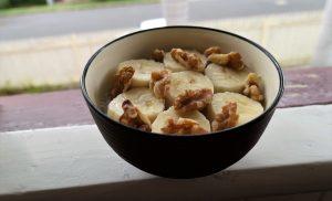 Chia pudding with banana and walnuts