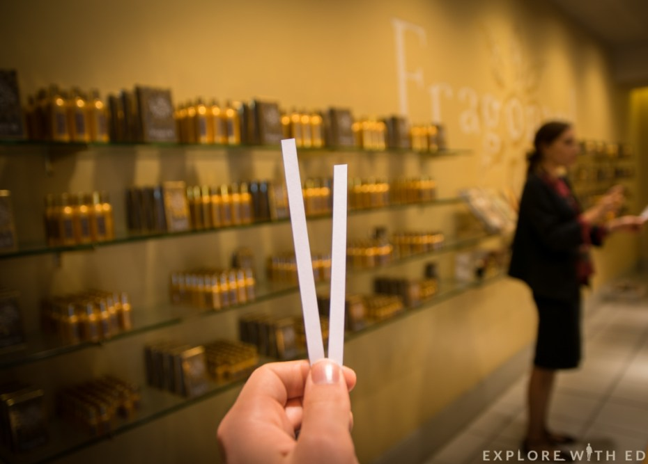 Perfume testing in Fragonard, Grasse