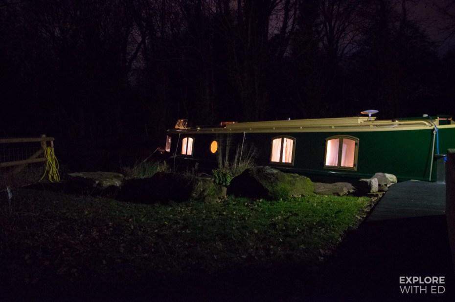 Narrowboat at night