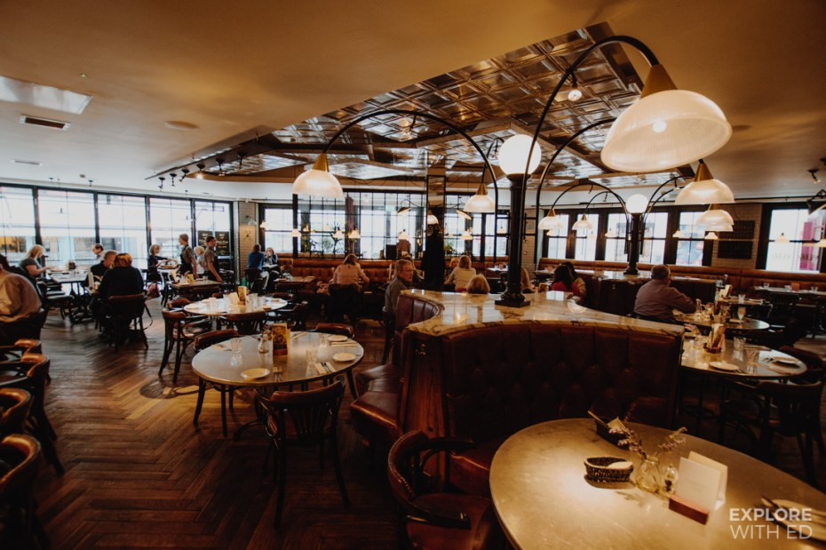 The classic french interior of a Bistrot Pierre restaurant
