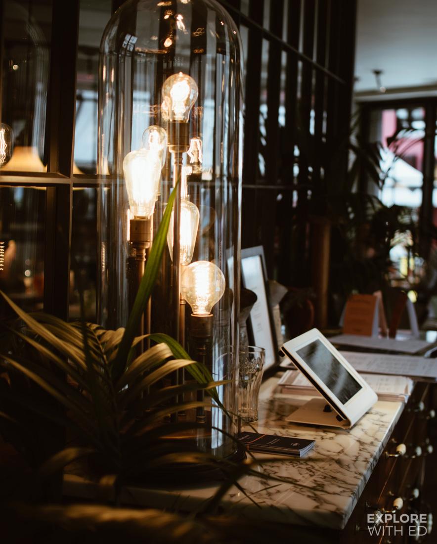 Lights in a glass jar, Bistrot Pierre interior design