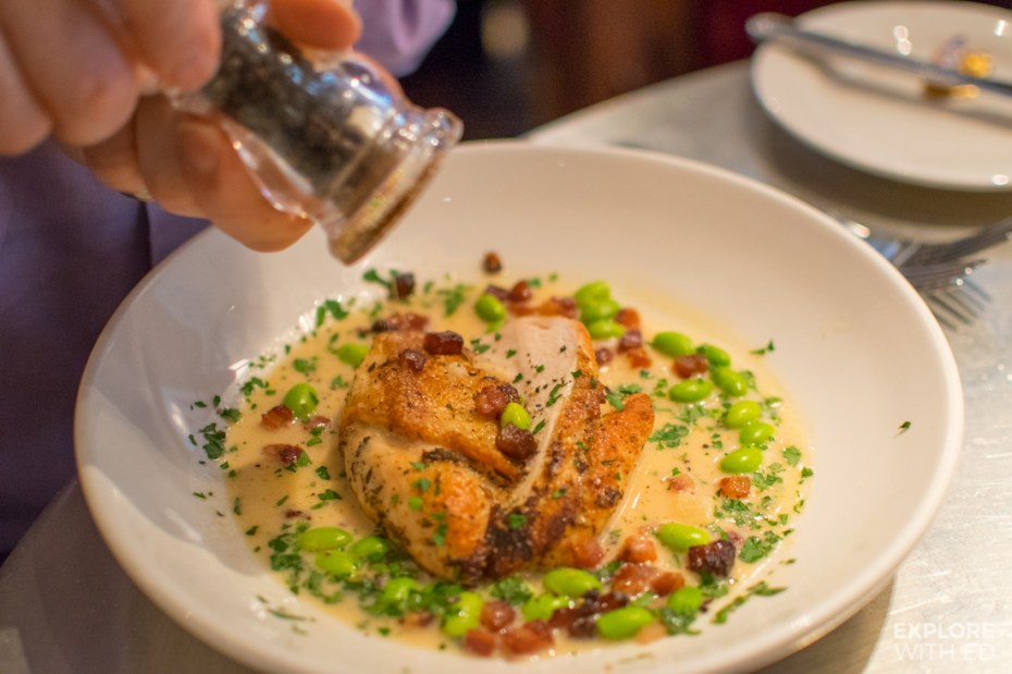 The poulet au citron from the Spring evening prix fixe menu at Bistrot Pierres