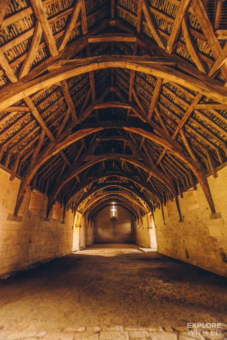 Inside view of the Tithe Barn's Medieval Timber Roof, Bradford-on-Avon