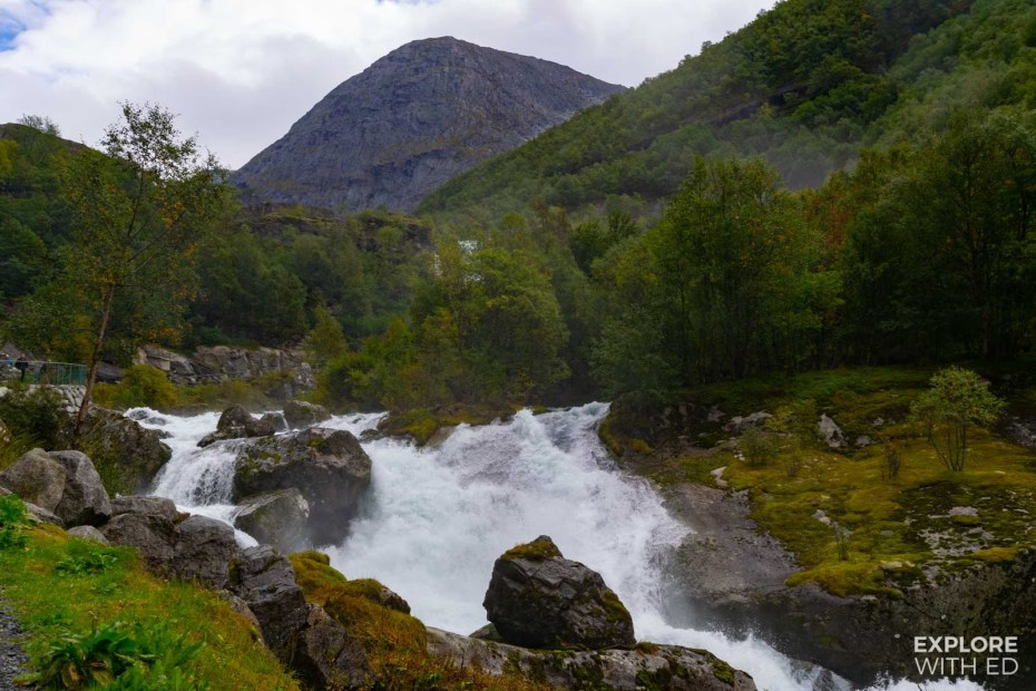 Walking route to Briksdal Glacier along the rocky river