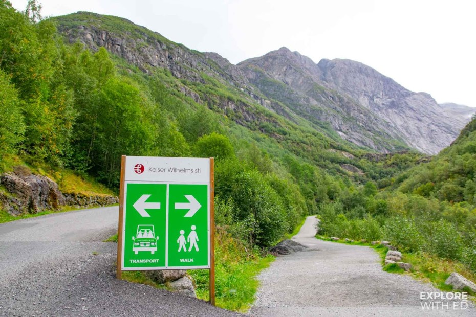 Transport and walking option at the Briksdal Glacier