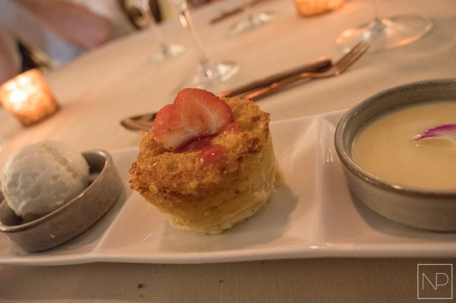 White chocolate and apricot bread pudding at The Treasure Beach
