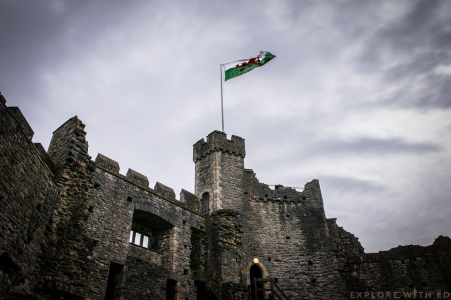 Norman keep, Welsh Flag, Cardiff Castle