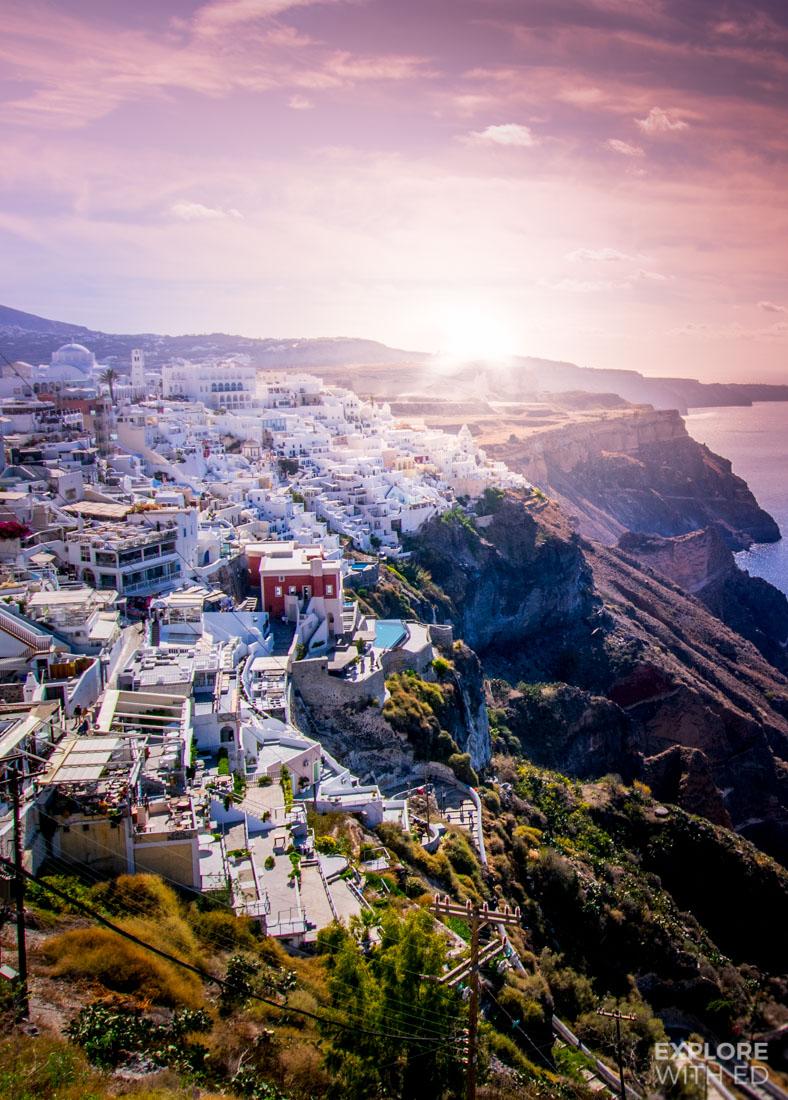 Overlooking the main town of Fira on Santorini