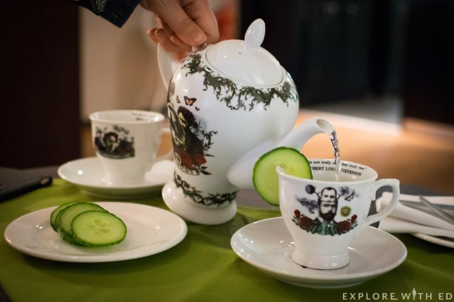 Pouring shot of Hendricks Gin Teapot