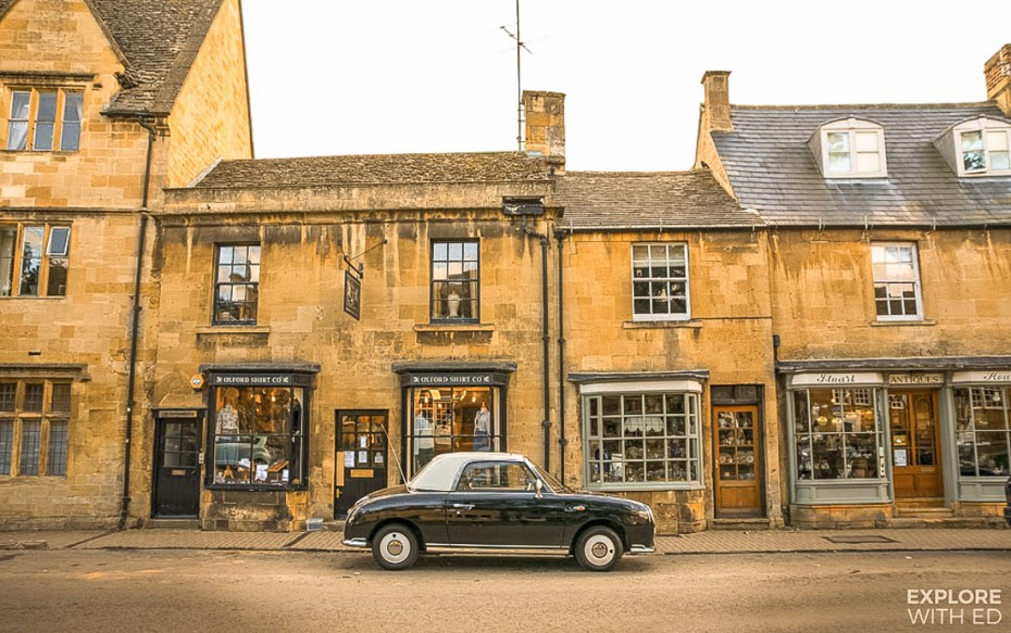 Vintage Car in Chipping Campden in The Cotswolds