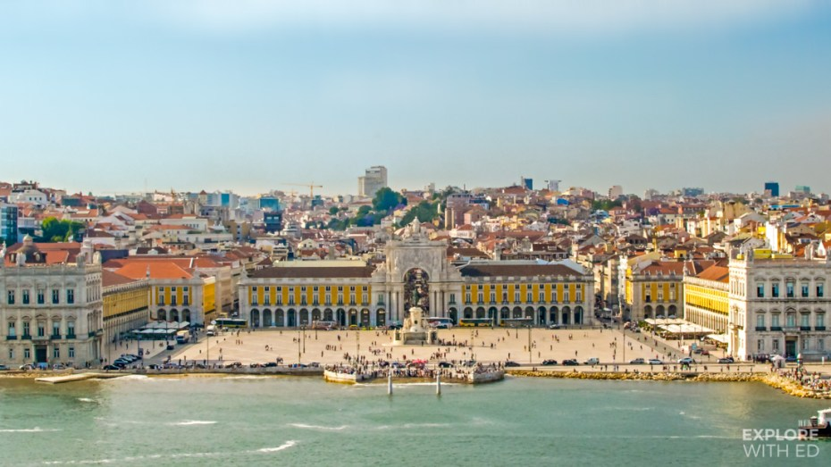 The Main Square in Lisbon Portugal viewed from a cruise ship