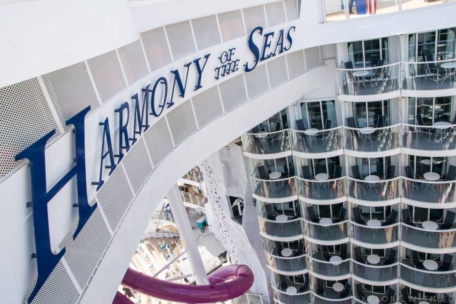 Balcony cabins overlooking Boardwalk, Harmony of the Seas