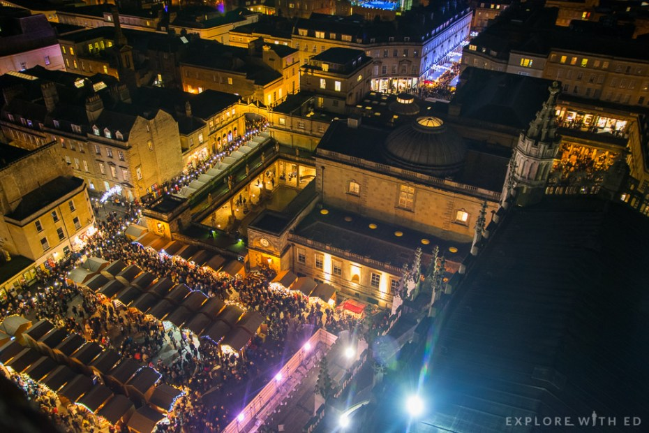 Bath Christmas Market from above on a busy Saturday evening