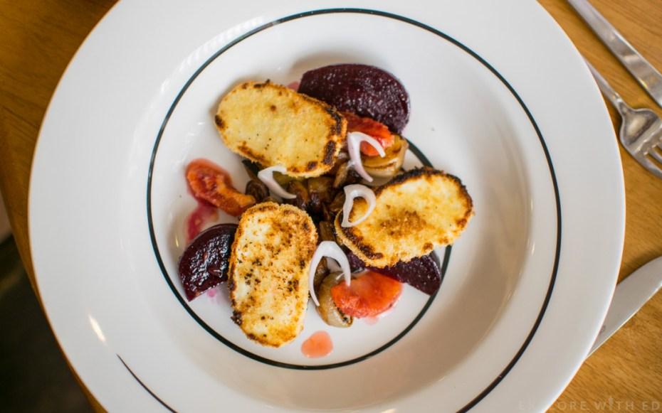 Crisp halloumi, Scholar Restaurant
