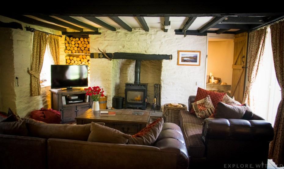Tyn y Coed Cottage living room, log fire