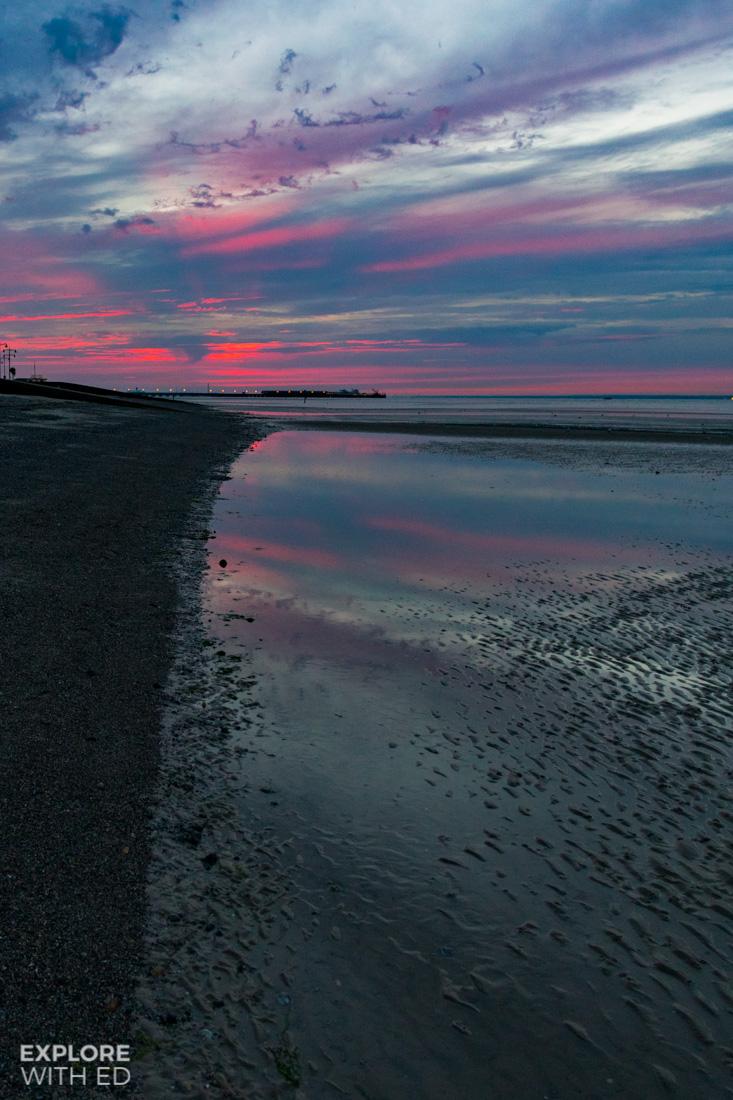 Appley Beach at Sunset