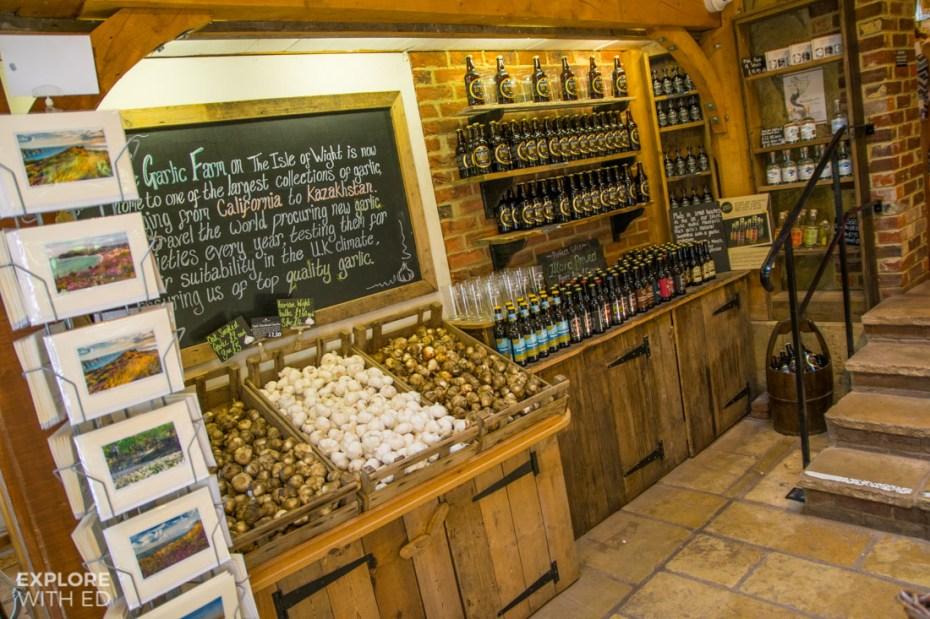 The Garlic Farm shop with Garlic Vodka and varieties of Garlic