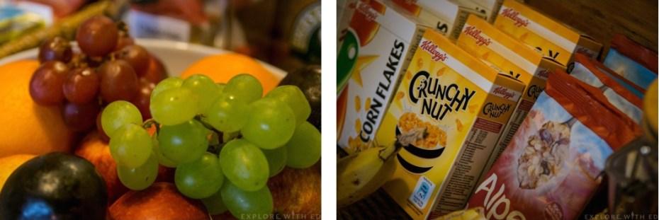 Breakfast options Langland B&B, fresh fruit, cereal