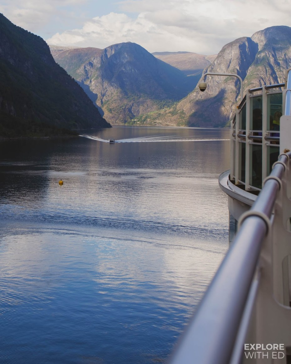 Sailing through the Fjord from the port of Flam in Norway