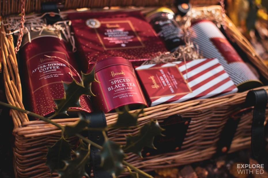 Harrods Christmas hamper range including spiced black tea
