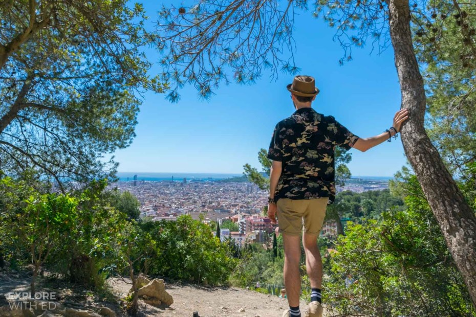 Park Guell with a view over Barcelona