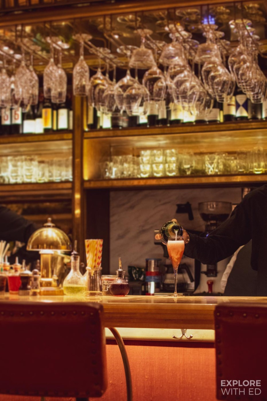 The stylish wine bar inside The Ivy Bath Brasserie