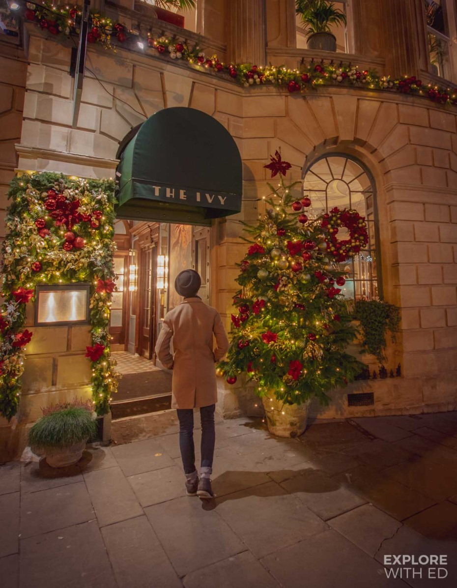 Christmassy entrance at The Ivy Bath Brasserie