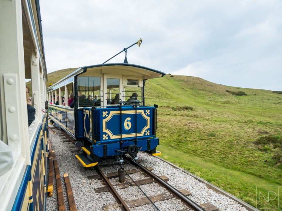 Passing trams in Llandudno North Wales