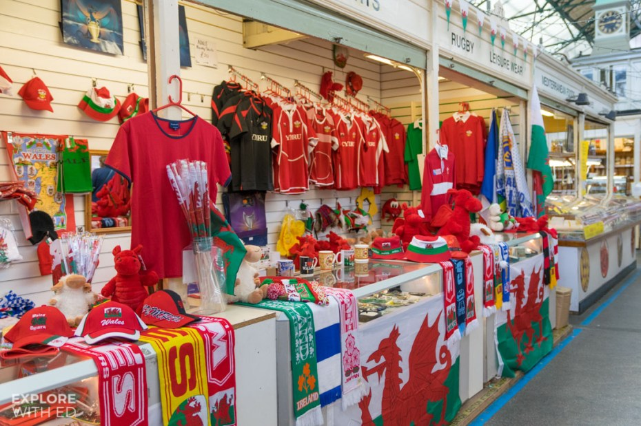 Welsh merchandise in Cardiff Indoor Market