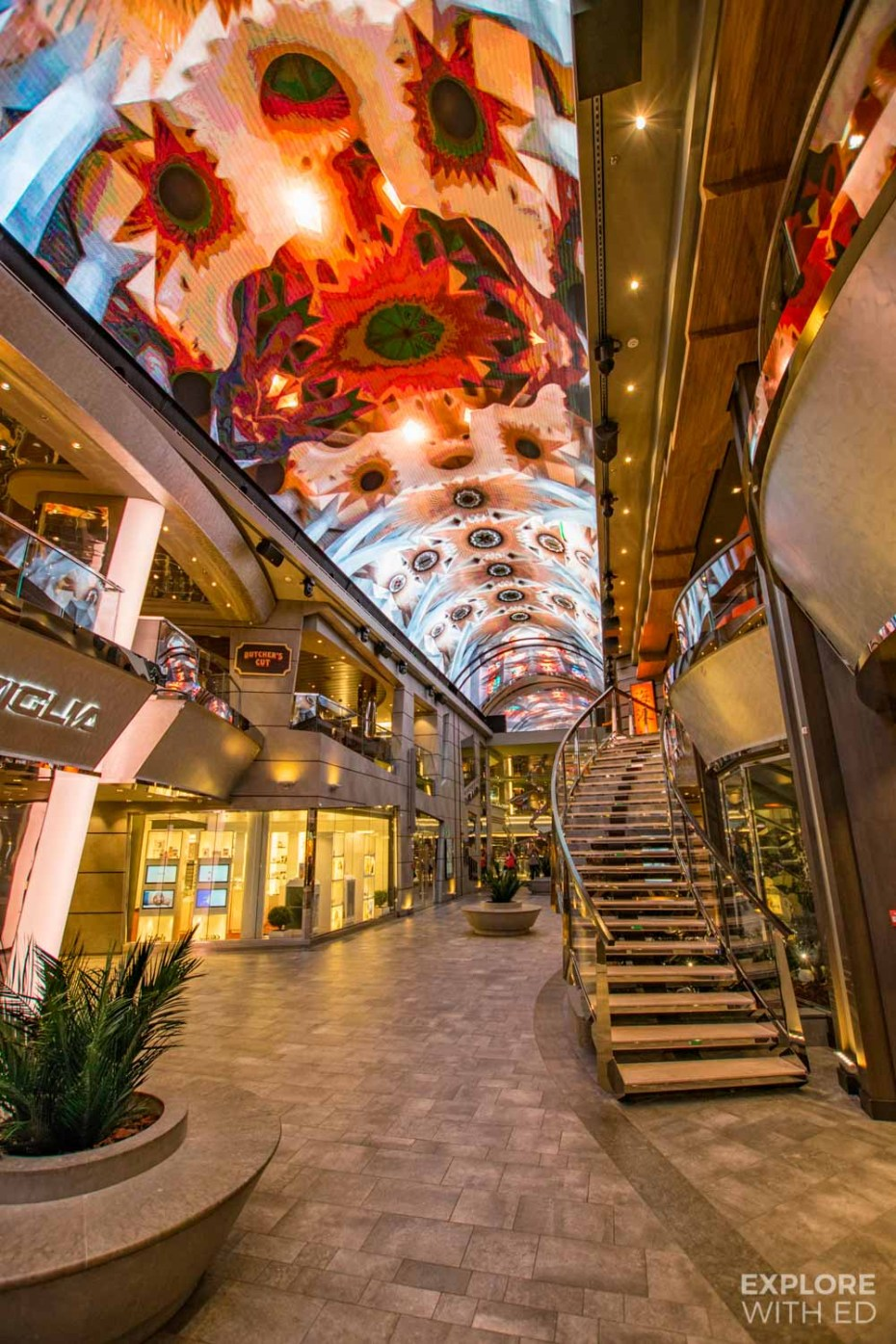 LED ceiling and shopping promenade on MSC Meraviglia
