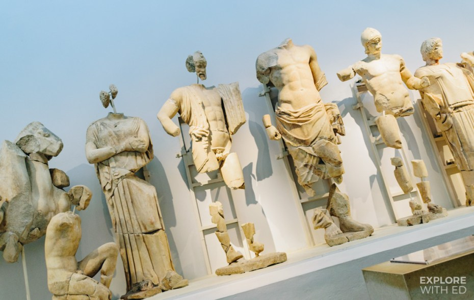 Statues recovered from the site of Olympia in the Museum