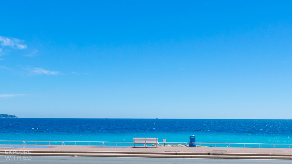 Promenade in Nice with bright blue sea