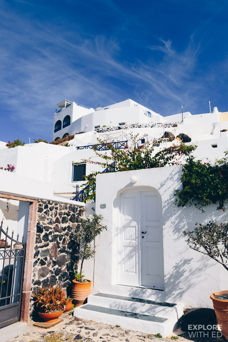 The iconic white and blue architecture in Santorini
