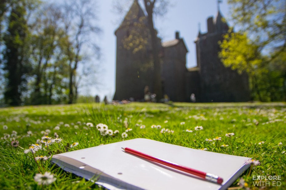 Castell Coch and drawing notepad in Wales