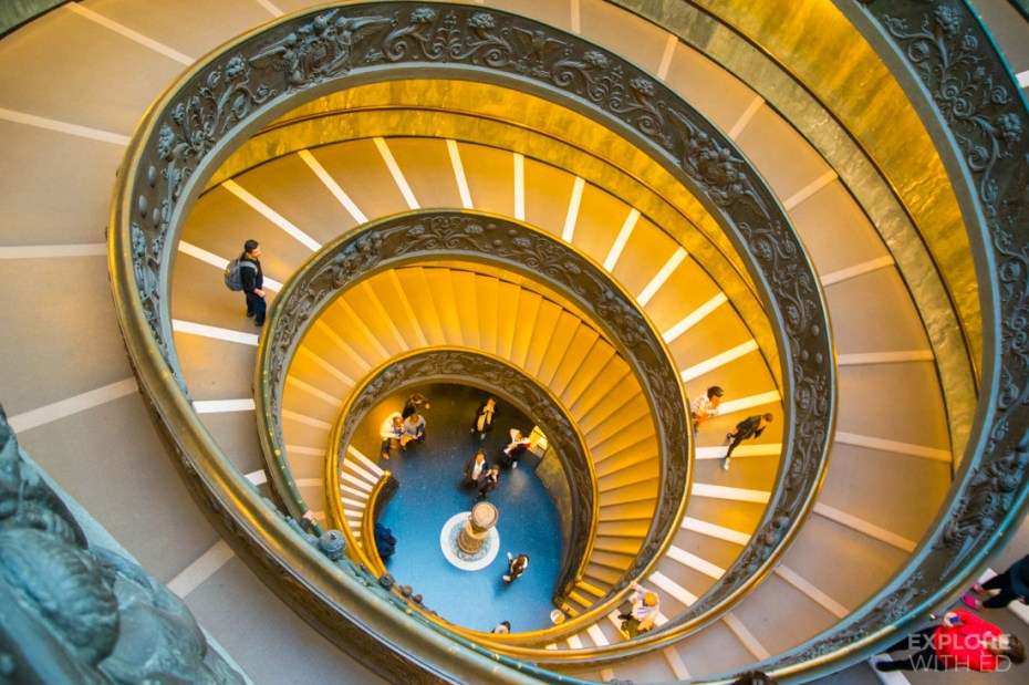 Spiral staircase inside Vatican Museum