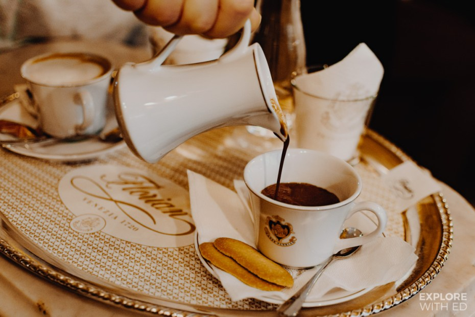 Luxury hot chocolate on a silver platter from Caffè Florian in St Mark's Square Venice