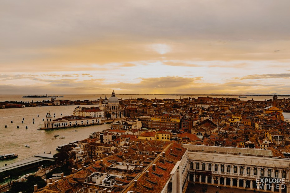 A birds eye view of Venice across St Mark's Square