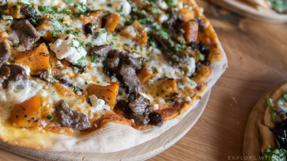 The Woolly Welshman Pizza, Roasted Sweet Potato, Marinated Lamb