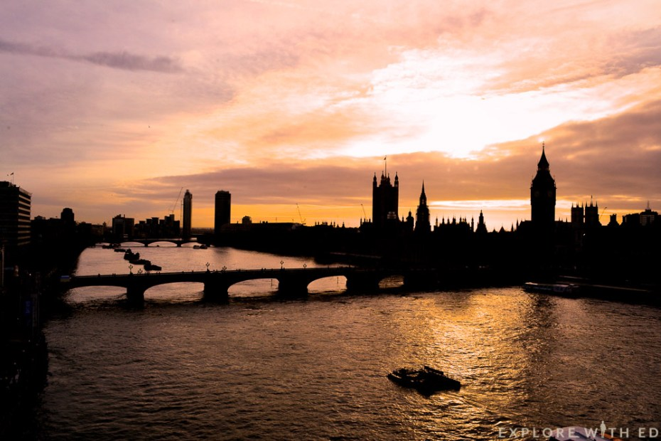 Sunset over Big Ben and the Houses of Parliament viewed from the London Eye