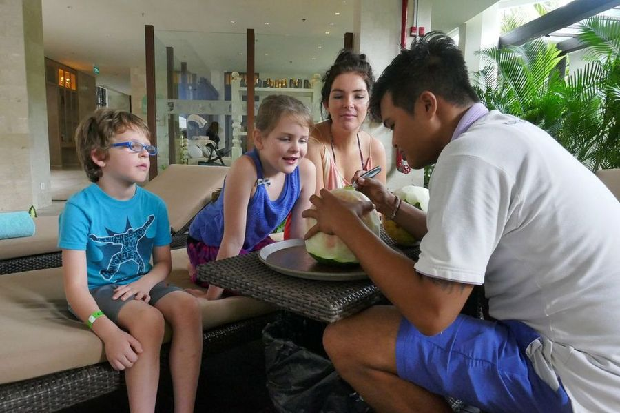 Bali With Kids: Fruit carving at a family friendly hotel