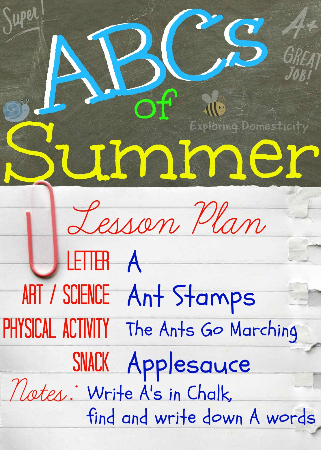 Abcs Of Summer Summer Activities For Preschoolers Letter A Exploring Domesticity