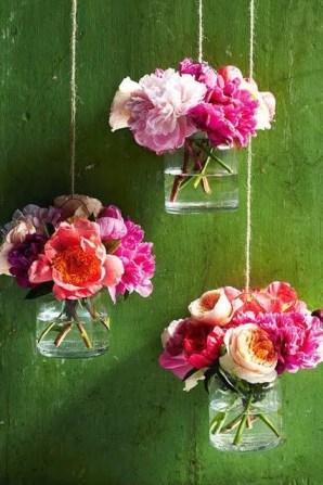 Hanging Mason Jar Flowers