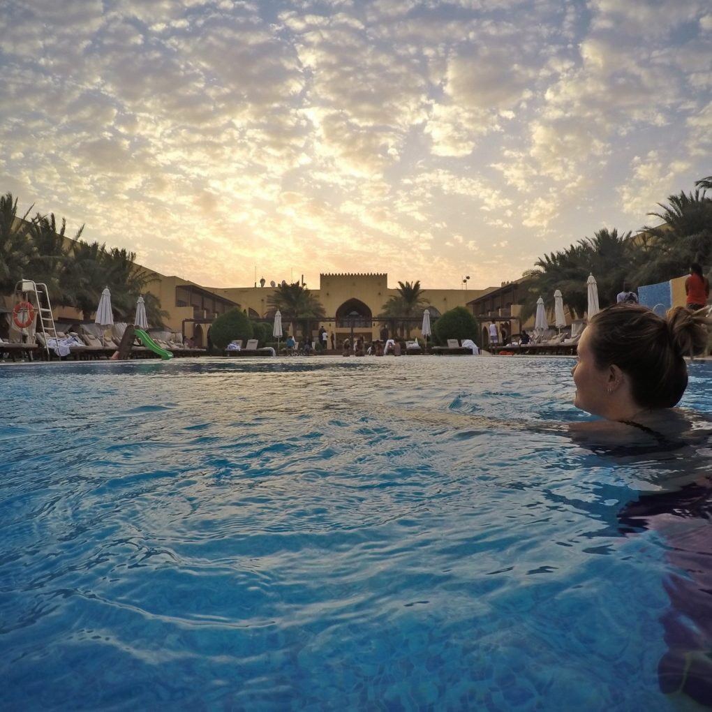 Tilal Liwa Hotel pool sunset