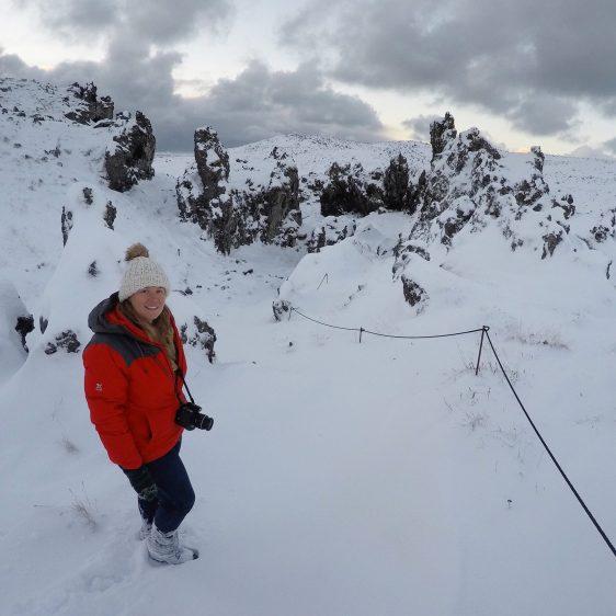 Snæfellsnes Peninsula Moonwalker Tours Iceland Dritvik Djúpalónssandur snow Sarah
