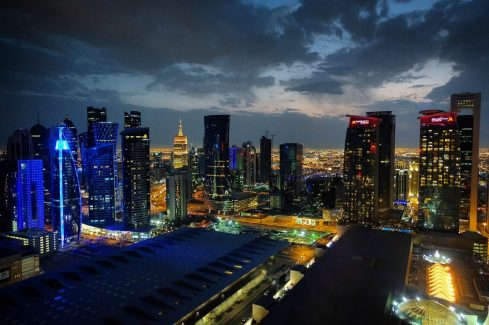 Doha skyline at night from the Shangri-La
